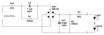 Schematic diagram of a 5.5W LED Bulb